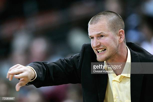 Head coach Henrik Roedl of Alba issues instructions to his team during the Basketball Bundesliga game between Bayer Giants Leverkusen and Alba Berlin...