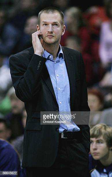 Head coach Henrik Roedl of Alba looks on during the Basketball Bundesliga match between Bayer Giants Leverkusen and Alba Berlin at the WilhelmDopatka...