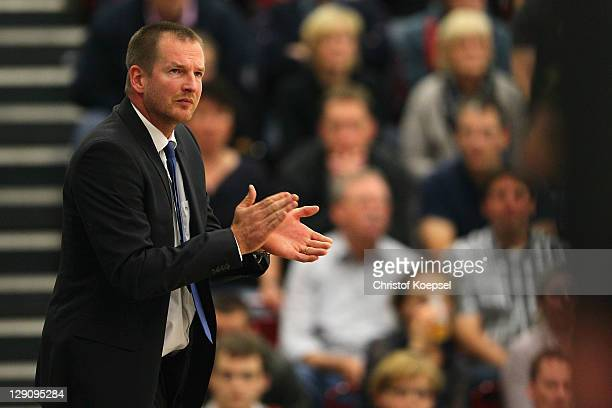 Head coach Henrik Roedl of Trier looks on during the Basketball Bundesliga match between Artland Dragons Quakenbrueck and TBB Trier at the Artland...