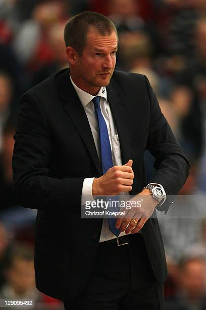 Head coach Henrik Roedl of Trier reacts during the Basketball Bundesliga match between Artland Dragons Quakenbrueck and TBB Trier at the Artland...