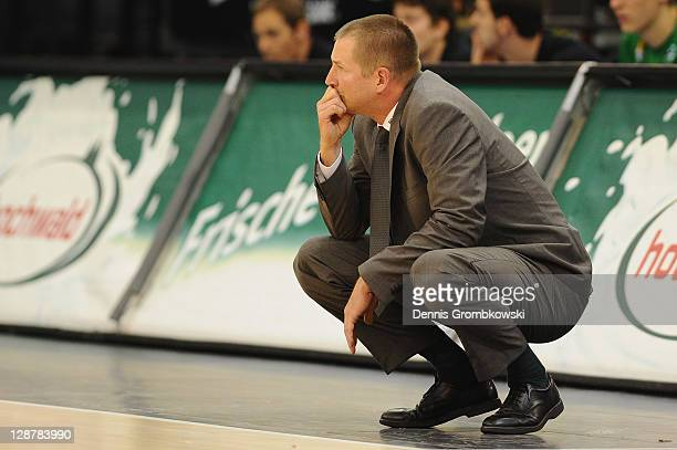 Head coach Henrik Roedl of Trier reacts during the BEKO BBL Bundesliga match between TBB Trier and Eisbaeren Bremerhaven at Arena Trier on October 7...