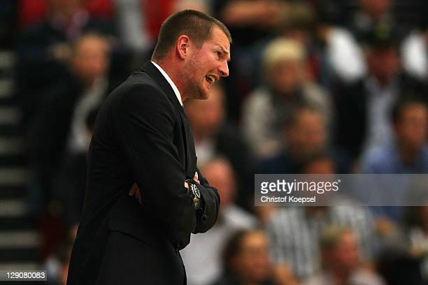 Head coach Henrik Roedl of Trier shouts during the Basketball Bundesliga match between Artland Dragons Quakenbrueck and TBB Trier at the Artland...