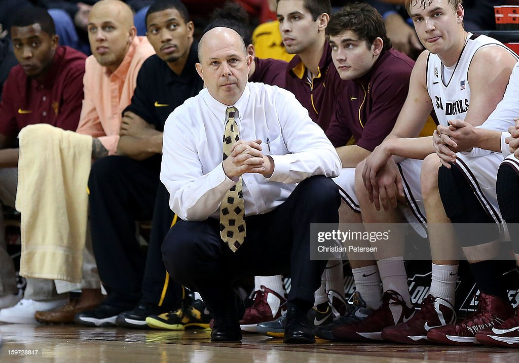 Head coach <a gi-track='captionPersonalityLinkClicked' href=/galleries/search?phrase=Herb+Sendek&family=editorial&specificpeople=799896 ng-click='$event.stopPropagation()'>Herb Sendek</a> of the Arizona State Sun Devils watches from the sidelines during the college basketball game against the Arizona Wildcats at Wells Fargo Arena on January 19, 2013 in Tempe, Arizona. The Wildcats defeated the Sun Devils 71-54.
