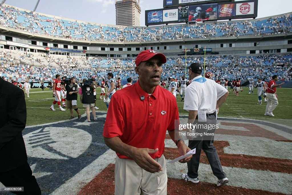 Head coach Herm Edwards of the Kansas City Chiefs shaking hands and the end of a game against the Carolina Panthers on October 5 2008 at the Bank of...