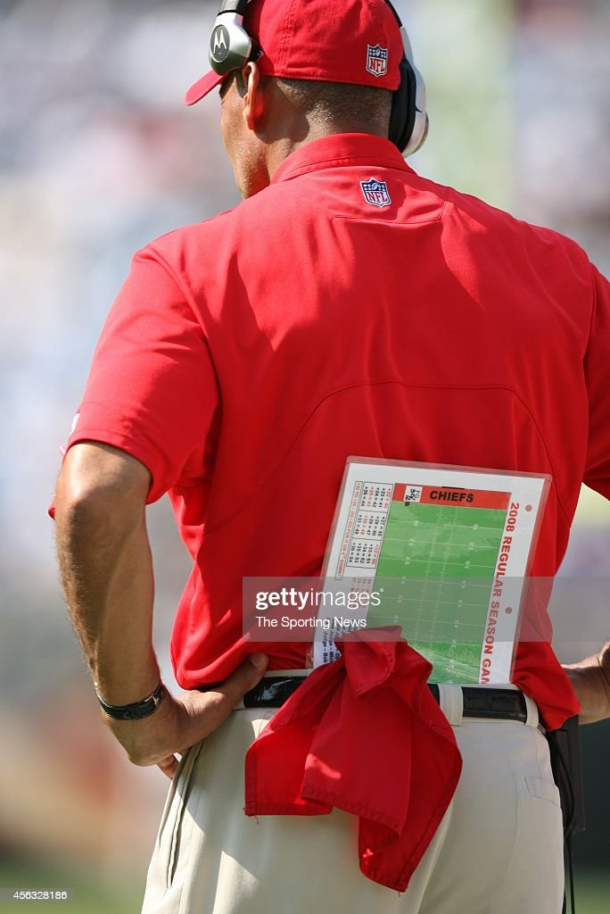 Head coach Herm Edwards of the Kansas City Chiefs stands on the sidelines during a game against the Carolina Panthers on October 5 2008 at the Bank...