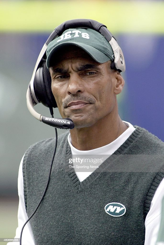 Head Coach Herman Edwards looks on during a game against the Miami Dolphins on September 14 2003 at the MetLife Stadium in East Rutherford New Jersey