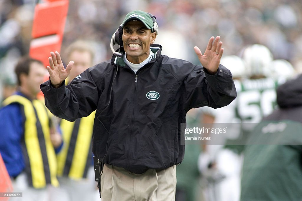 Head Coach Herman Edwards of the New York Jets appeals to the officials in the game against the San Francisco 49ers on October 17 2004 at Giants...