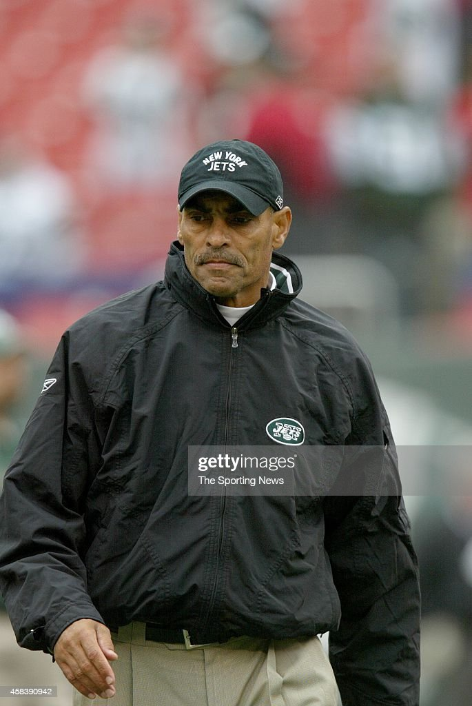 Head Coach Herman Edwards of the New York Jets looks on from the sidelines during a game against the Tampa Bay Buccaneers on October 09 2005 at the...