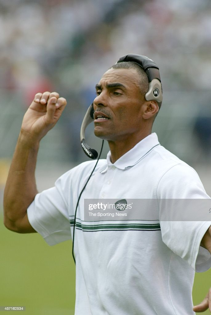 Head Coach Herman Edwards of the New York Jets on field during a game against the New England Patriots on September 15 2002 at Giants Stadium in East...