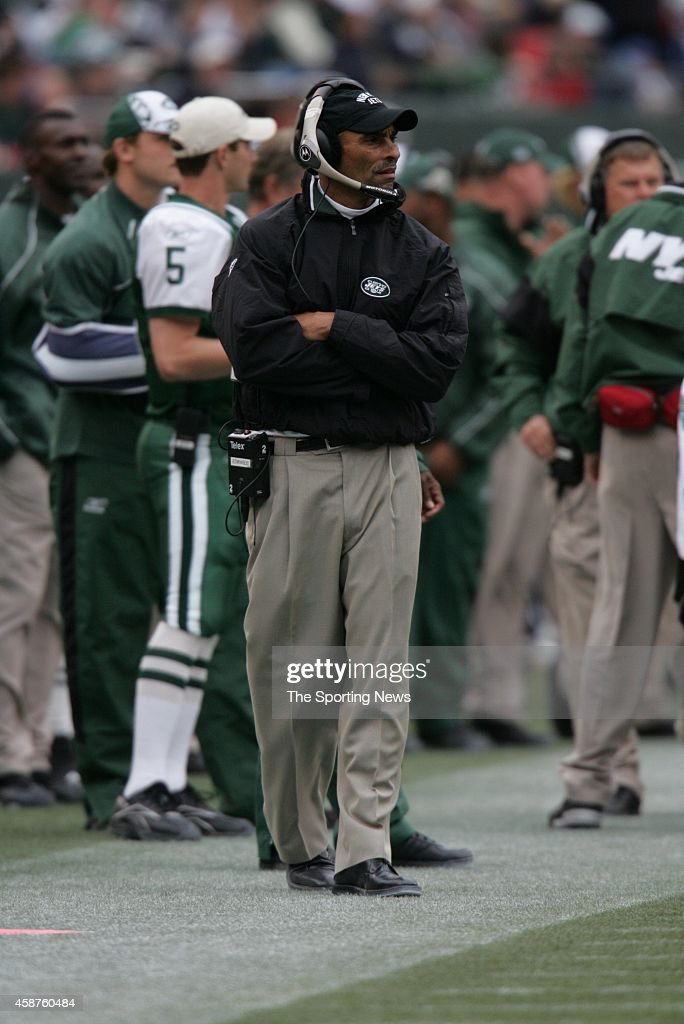 Head Coach Herman Edwards of the New York Jets standing on the sidelines during a game against the Tampa Bay Buccaneers on October 09 2005 at the...