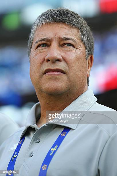 Head coach Hernan Dario Gomez of Panama looks on before the 2015 CONCACAF Gold Cup match between Honduras and Panama at Gillette Stadium on July 10...