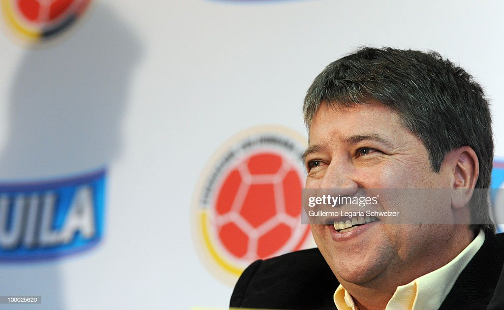 Head coach Hernan Dario'El Bolillo' Gomez speaks during a press conference to announce the selected players for the next friendly match against Nigeria and South Africa as a preparation for the 2010 FIFA World Cup South Africa.