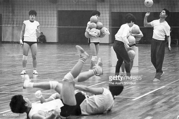 TOKYO JAPAN Head coach Hirobumi Daimatsu and players in action during a training session ahead of the Tokyo Olympics Women's Volleyball match against...