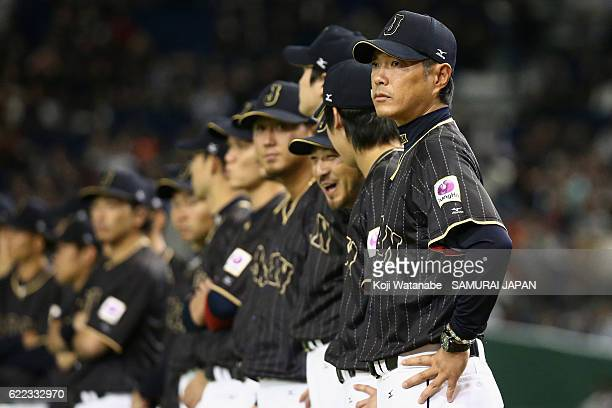 Head coach Hiroki Kokubo of Japan lines up prior to the international friendly match between Mexico and Japan at the Tokyo Dome on November 11 2016...