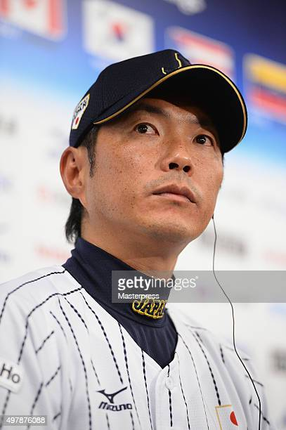 Head Coach Hiroki Kokubo of Japan speaks during a press conference after the WBSC Premier 12 semi final match between South Korea and Japan at the...