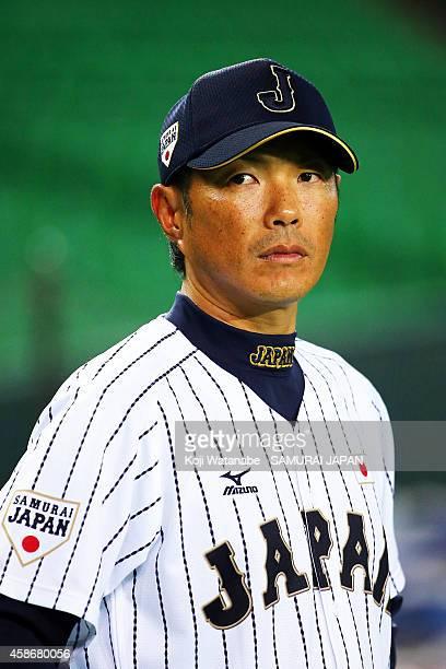 Head Coach Hiroki Kokubo of Samurai Japan looks on a training session at Fukuoka Yahuoku Dome on November 9 2014 in Fukuoka Japan
