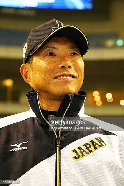 Head Coach Hiroki Kokubo of Samurai Japan looks on Samurai Japan v All Euro match at the Tokyo Dome on March 11 2015 in Tokyo Japan
