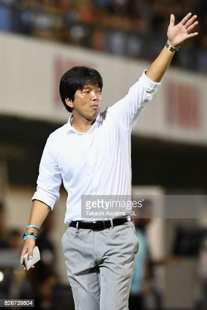 Head coach Hiroshi Nanami of Jubilo Iwata gestures during the JLeague J1 match between Jubilo Iwata and Sanfrecce Hiroshima at Yamaha Stadium on...