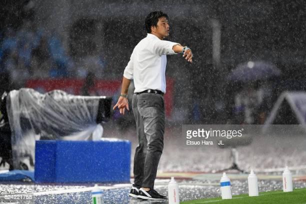 Head coach Hiroshi Nanami of Jubilo Iwata gives instruction during the JLeague J1 match between Kawasaki Frontale and Jubilo Iwata at Todoroki...