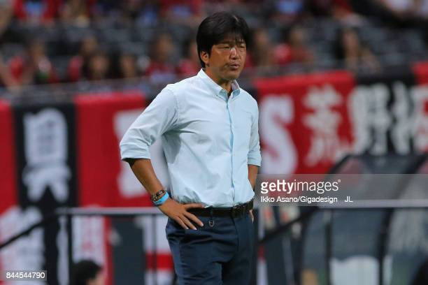 Head coach Hiroshi Nanami of Jubilo Iwata looks on during the JLeague J1 match between Consadole Sapporo and Jubilo Iwata at Sapporo Dome on...