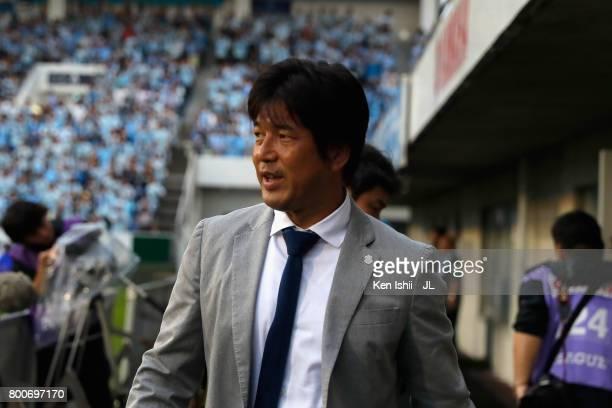 Head coach Hiroshi Nanami of Jubilo Iwata looks on prior to the JLeague J1 match between Jubilo Iwata and FC Tokyo at Yamaha Stadium on June 25 2017...
