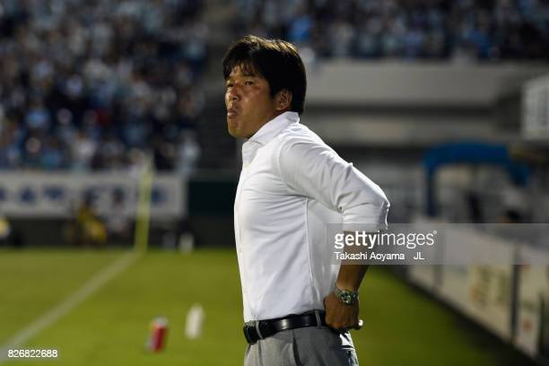 Head coach Hiroshi Nanami of Jubilo Iwata looks on prior to the JLeague J1 match between Jubilo Iwata and Sanfrecce Hiroshima at Yamaha Stadium on...