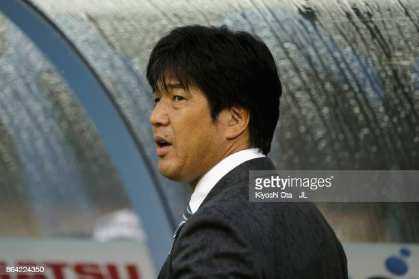 Head coach Hiroshi Nanami of Jubilo Iwata looks on prior to the JLeague J1 match between Jubilo Iwata and Albirex Niigata at Yamaha Stadium on...