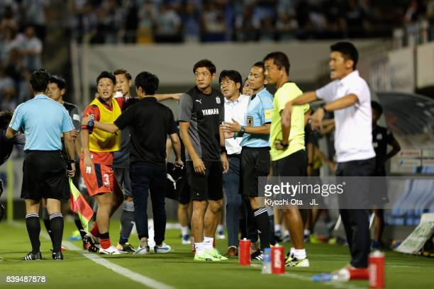 Head coach Hiroshi Nanami of Jubilo Iwata protests to referee Jumpei Iida after Adailton's shot was cleared off the goal line during the JLeague J1...