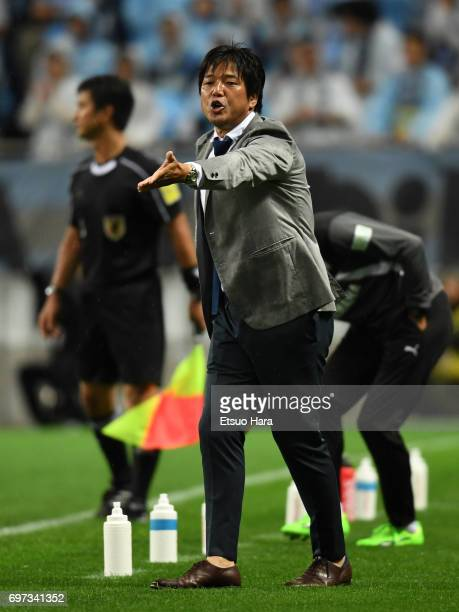 Head coach Hiroshi Nanami of Jubilo Iwata reacts during the JLeague J1 match between Urawa Red Diamonds and Jubilo Iwata at Saitama Stadium on June...