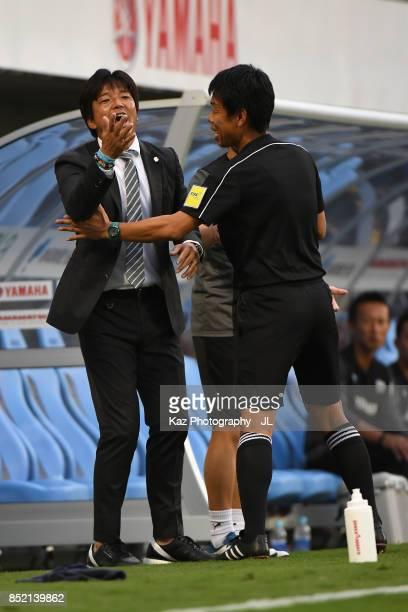 Head coach Hiroshi Nanami of Jubilo Iwata reacts during the JLeague J1 match between Jubilo Iwata and Omiya Ardija at Yamaha stadium on September 23...