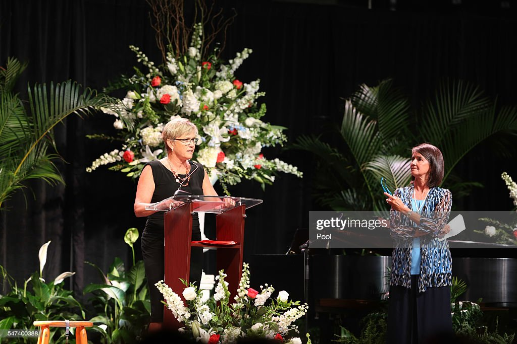 Head Coach Holly Warlick and former assistant coach Mickie DeMoss deliver eulogies during the Pat Summitt Celebration of Life at ThompsonBoling Arena...