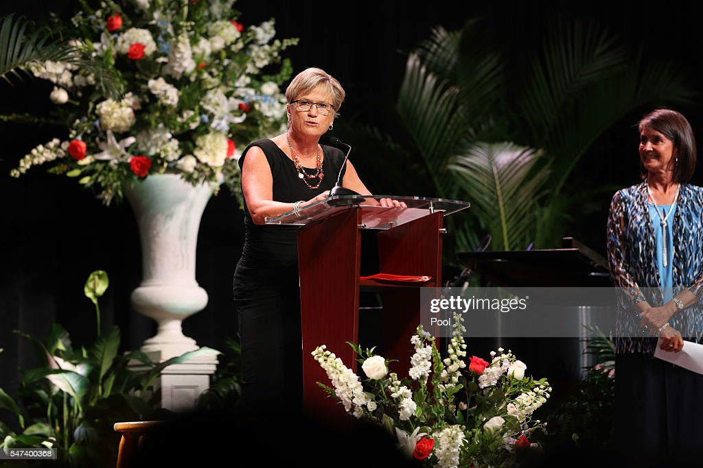 Head Coach Holly Warlick delivers a eulogy during the Pat Summitt Celebration of Life at ThompsonBoling Arena on July 14 2016 in Knoxville Tennessee...