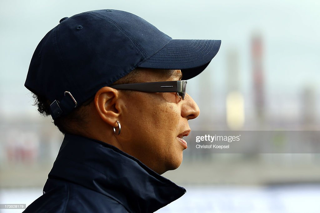 Head coach <a gi-track='captionPersonalityLinkClicked' href=/galleries/search?phrase=Hope+Powell&family=editorial&specificpeople=228832 ng-click='$event.stopPropagation()'>Hope Powell</a> of England looks on during the UEFA Women's EURO 2013 Group C match between England and Russia at Linkoping Arena on July 15, 2013 in Linkoping, Sweden.