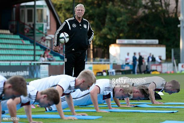 Head coach Horst Hrubesch looks on during the Germany U21 training session of Germany U21 on August 31 2015 in Norderstedt Germany