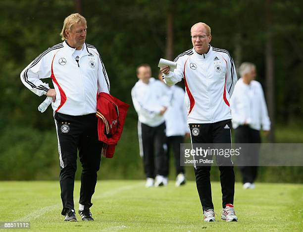 Head coach Horst Hrubesch of Germany and Matthias Sammer sporting director of the German Football Association DFB talk during the U21 German National...