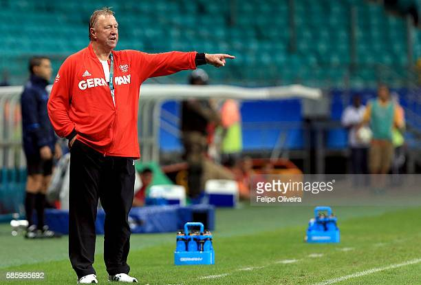 Head coach Horst Hrubesch of Germany during the Men's Group C first round match between Mexico and Germany during the Rio 2016 Olympic Games at Arena...