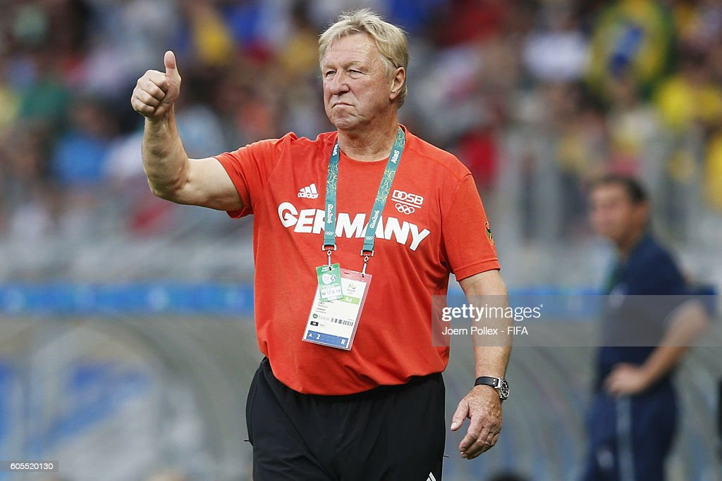 Head coach Horst Hrubesch of Germany gestures during the Men's Group C match between Germany and Fiji on Day 5 of the Rio2016 Olympic Games at Mineirao Stadium on August 10, 2016 in Belo Horizonte, Brazil.