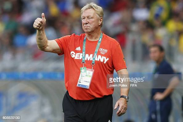 Head coach Horst Hrubesch of Germany gestures during the Men's Group C match between Germany and Fiji on Day 5 of the Rio2016 Olympic Games at...