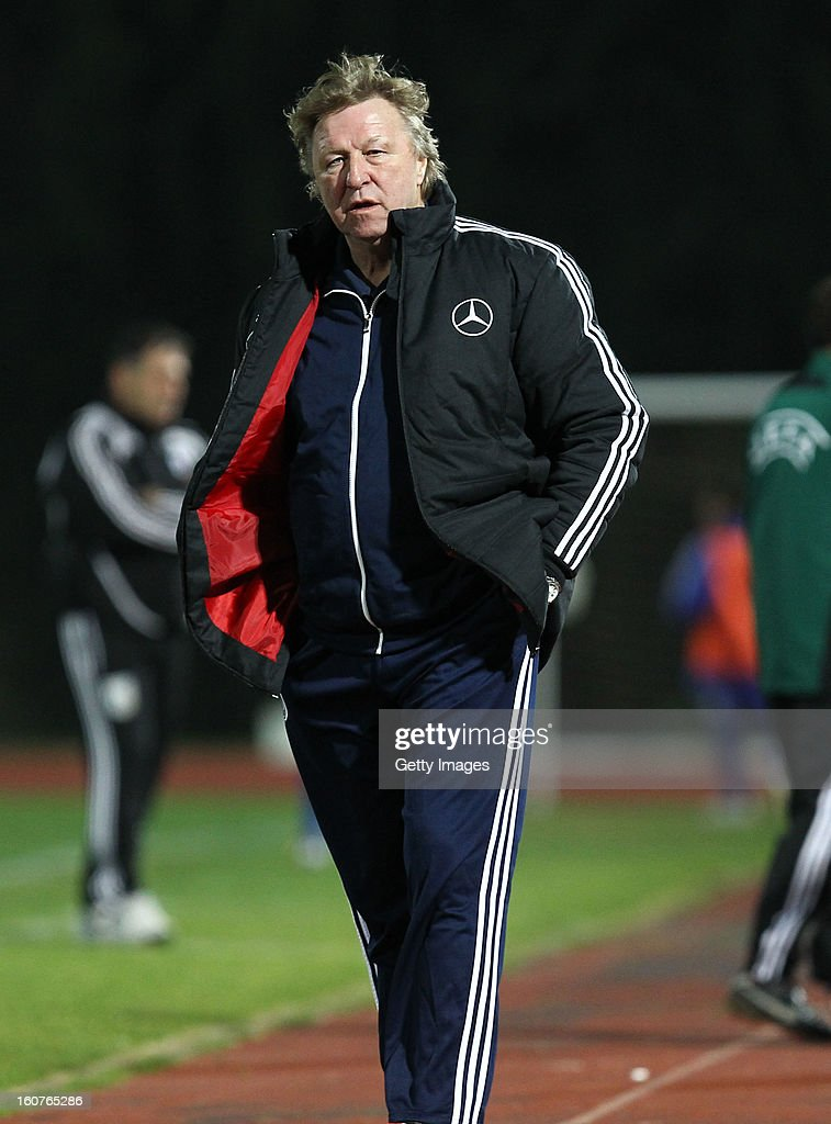 Head coach <a gi-track='captionPersonalityLinkClicked' href=/galleries/search?phrase=Horst+Hrubesch&family=editorial&specificpeople=613059 ng-click='$event.stopPropagation()'>Horst Hrubesch</a> of Germany looks on during the international friendly match between U18 Cyprus and U18 Germany at Stadio Tasos Markou on February 5, 2013 in Paralimni, Cyprus.