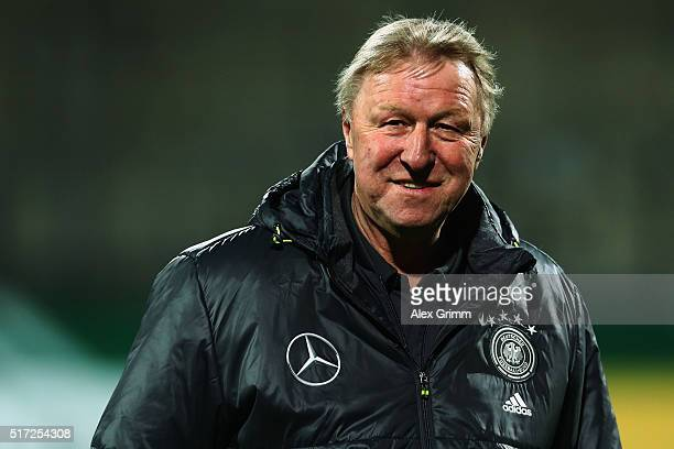 Head coach Horst Hrubesch of Germany looks on prior to the 2017 UEFA European U21 Championships qualifier match between Germany U21 and Faroe Islands...