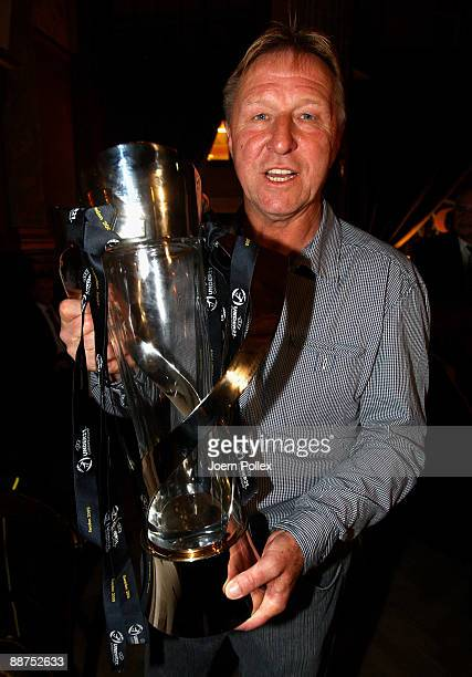 Head coach Horst Hrubesch of the German team is pictured with the cup after winning the U21 European Championship on the DFB U21 European...