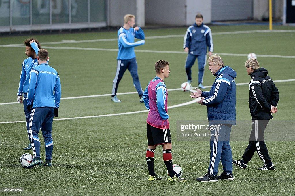 Head coach Horst Hruebesch of Germany instructs Max Meyer during the 2017 UEFA European U21 Championships Qualifier between U21 Faroe Islands and U21...