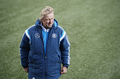 Head coach Horst Hruebesch of Germany looks on prior to kickoff during the 2017 UEFA European U21 Championships Qualifier between U21 Faroe Islands...