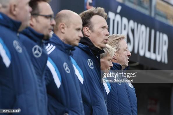 Head coach Horst Hruebesch of Germany looks on prior to kickoff during the 2017 UEFA European U21 Championships Qualifier between U21 Faroe Islands...