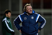 Head coach Horst Hruebesch of Germany reacts during the 2017 UEFA European U21 Championships Qualifier between U21 Faroe Islands and U21 Germany at...
