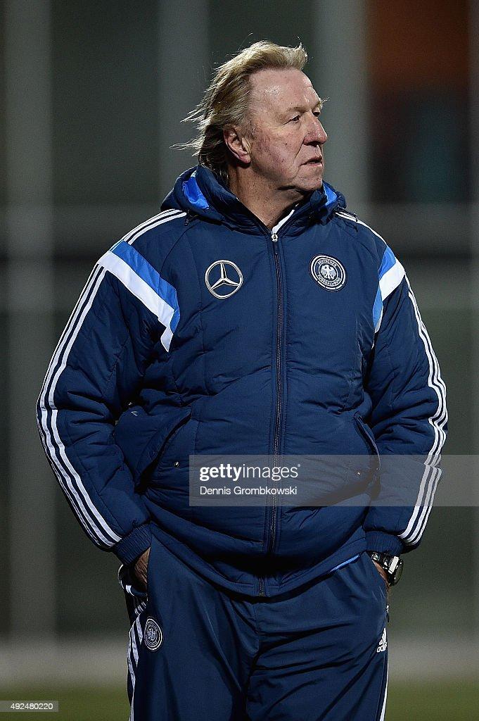 Head coach Horst Hruebesch of Germany reacts during the 2017 UEFA European U21 Championships Qualifier between U21 Faroe Islands and U21 Germany at...