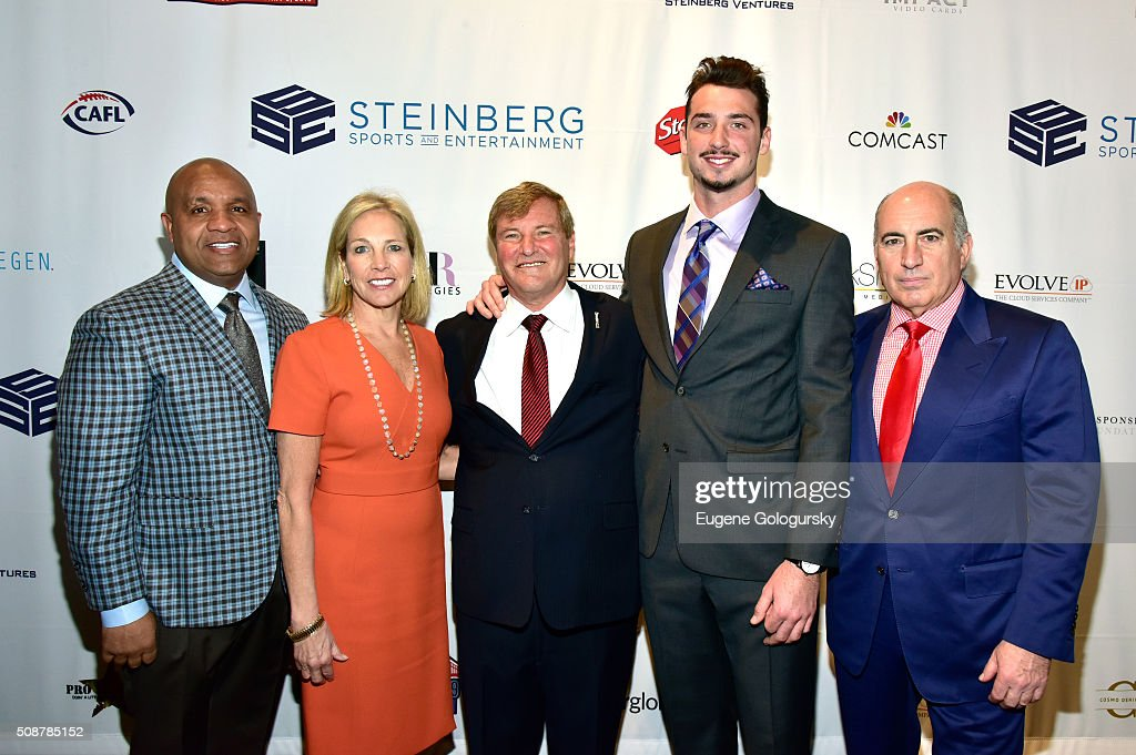 NFL head coach Hue Jackon, co-owner of the Cleveland Browns Dee Haslam, sports agent Leigh Steinberg, football player Paxton Lynch and entrepreneur Cosmo DeNicola attend the 29th Annual Leigh Steinberg Super Bowl Party on February 6, 2016 in San Francisco, California.