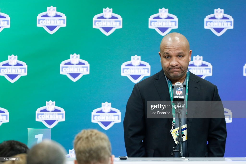 Head coach Hue Jackson of the Cleveland Browns answers questions from the media on Day 2 of the NFL Combine at the Indiana Convention Center on March 2, 2017 in Indianapolis, Indiana.