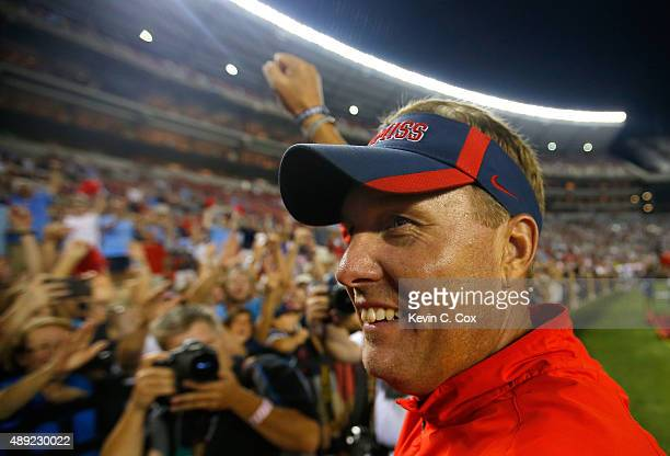 Head coach Hugh Freeze of the Mississippi Rebels celebrates their 4337 win over the Alabama Crimson Tide at BryantDenny Stadium on September 19 2015...