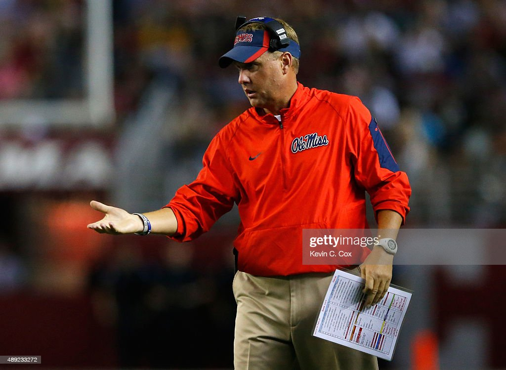 Head coach <a gi-track='captionPersonalityLinkClicked' href=/galleries/search?phrase=Hugh+Freeze&family=editorial&specificpeople=9725187 ng-click='$event.stopPropagation()'>Hugh Freeze</a> of the Mississippi Rebels looks on during the game against the Alabama Crimson Tide at Bryant-Denny Stadium on September 19, 2015 in Tuscaloosa, Alabama.